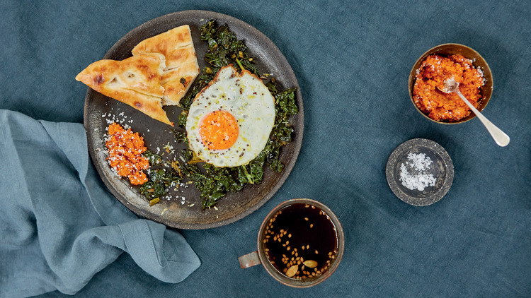 Greens, Coconut Sambal, and Mustard Seed Fried Egg