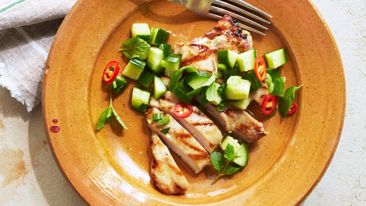 Grilled Chicken Breast With Cucumber Relish