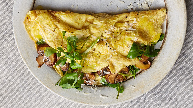 Mushroom, Parmesan, and Watercress Omelet