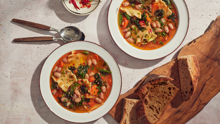 shelling-bean minestrone topped with fresh parsley and red-pepper flakes