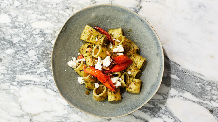 Carrot-and-Feta Pasta with Cilantro Pesto