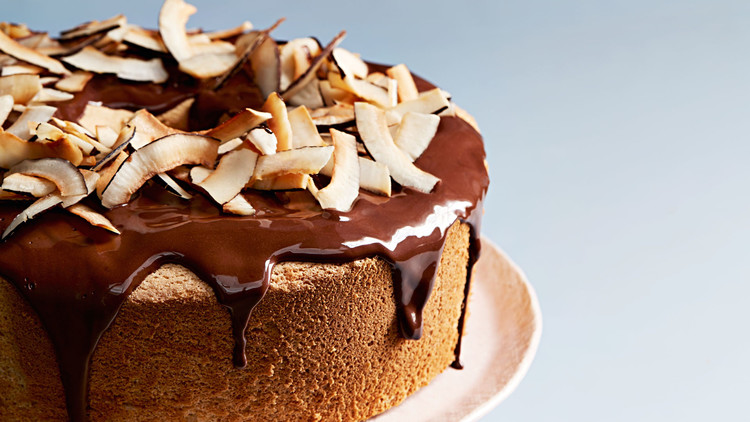 passover coconut chiffon cake with chocolate frosting