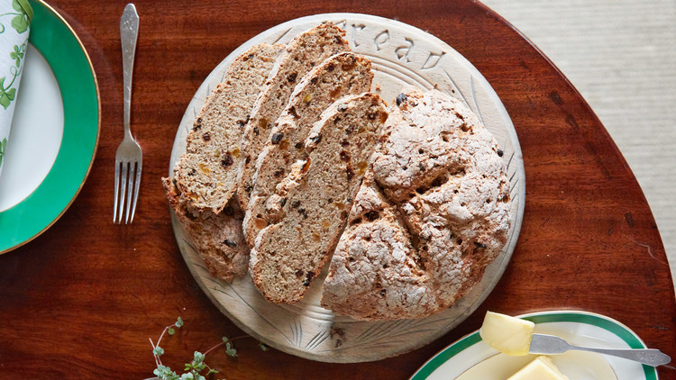 marthas soda bread with rye and currants served on bread board
