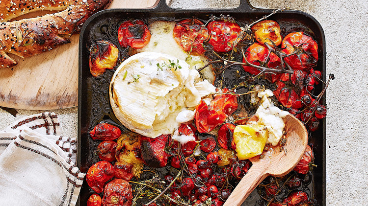 roasted tomatoes cheese thyme