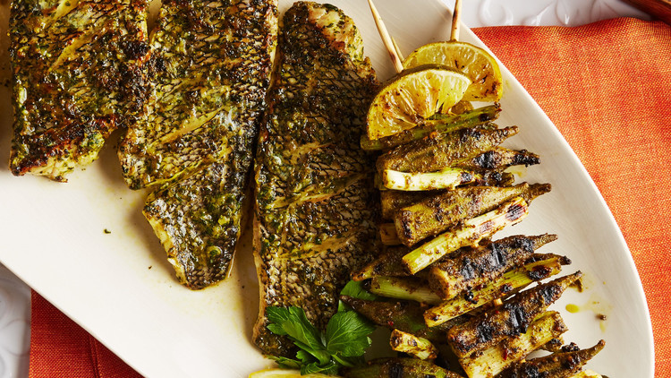 Grilled Sea Bass Fillets with Okra Kebabs