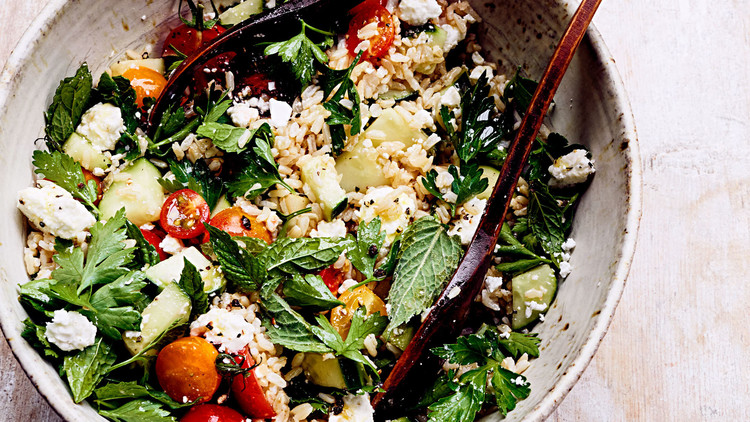 Rice Salad with Tomatoes, Cucumbers, and Feta