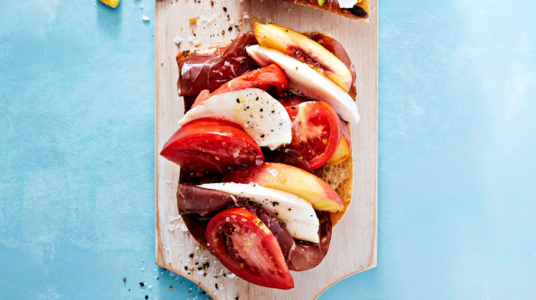 Tomato, Peach, Buffalo Mozzarella, and Bresaola Tartine