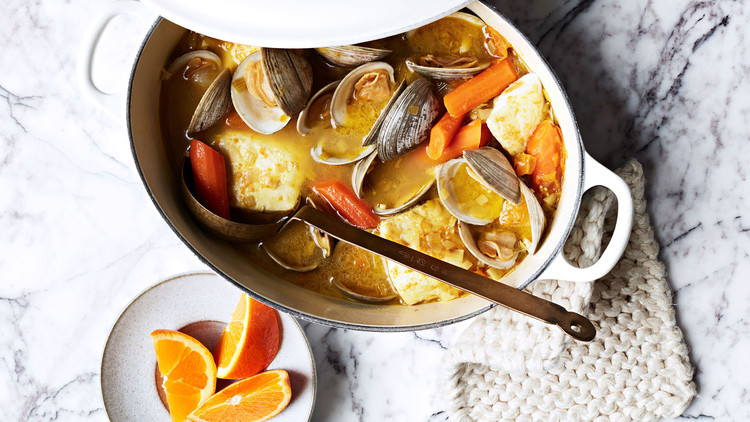 Clams and White Fish in Carrot-Saffron Broth