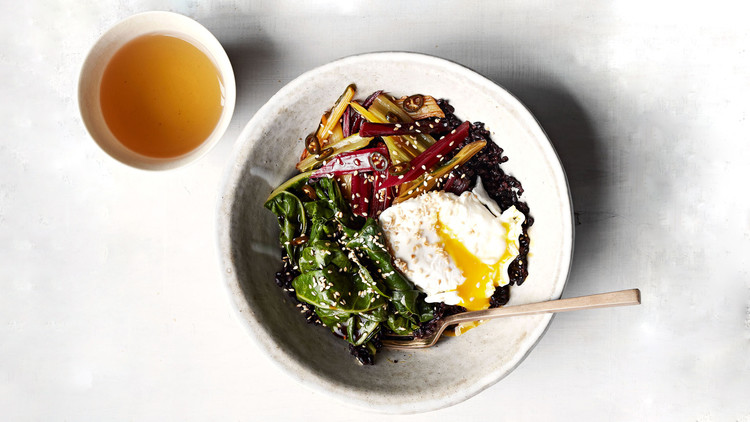 Gingery Rainbow-Chard and Black-Rice Bowl
