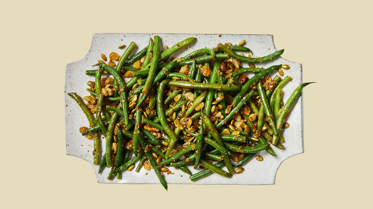 green beans with warm raisin-caper dressing