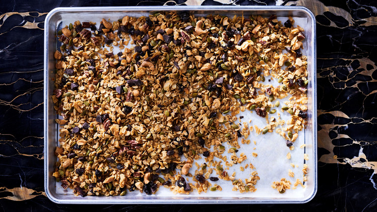 Granola with Dark Chocolate, Olive-Oil, and Maple