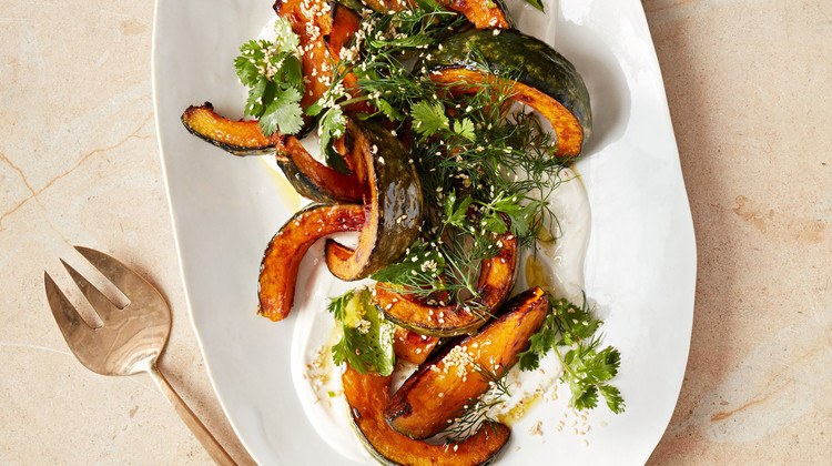 Roasted Kabocha Squash with Tahini and Herb Salad