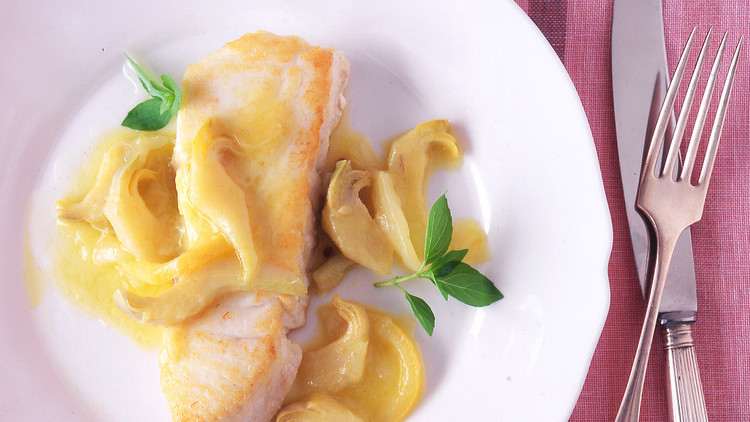 Halibut with Braised, Sliced Artichokes and Lemons