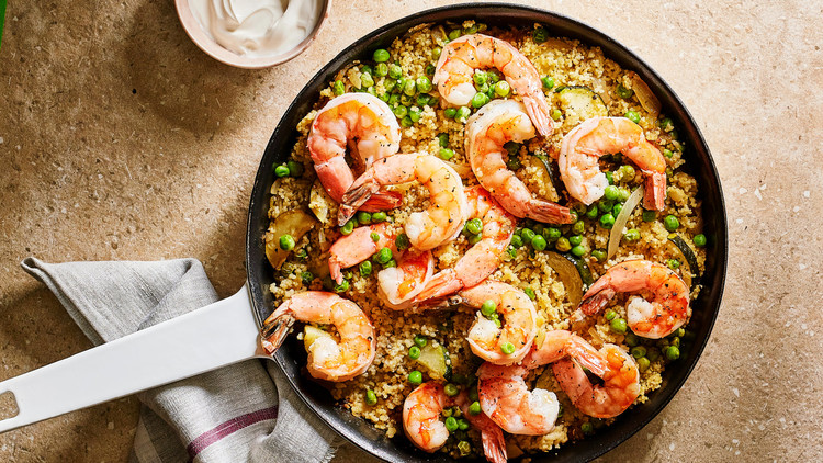 shrimp with zucchini and spicy couscous