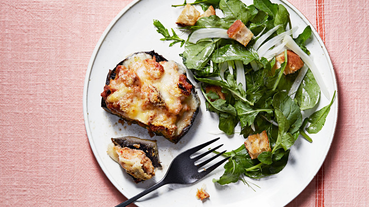 Stuffed Portobellos with Arugula-and-Bread Salad