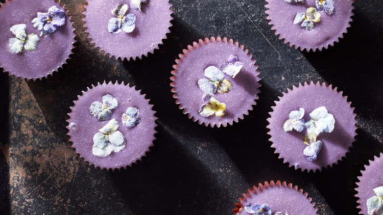 Brownie Cupcakes with Sugared Pansies