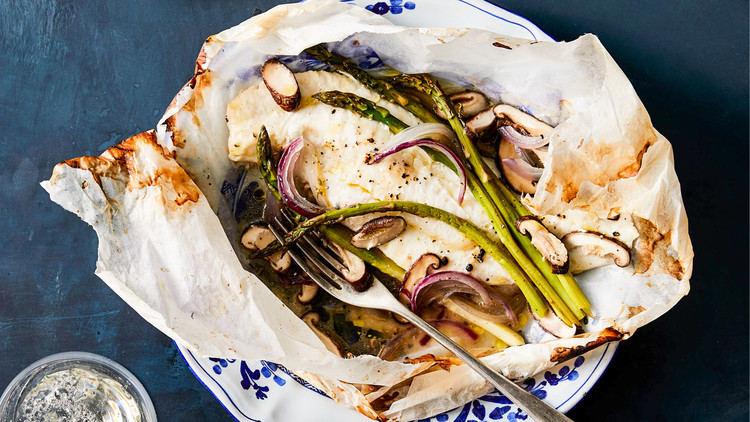 Flounder en Papillote with Asparagus and Shiitake Mushrooms on decorative plate