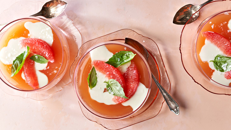 Basil-Yogurt Panna Cotta with Grapefruit Gelée