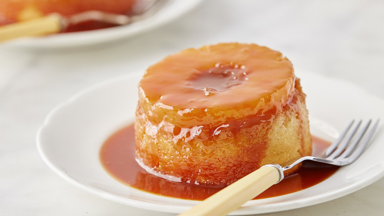 Mini Pineapple Upside-Down Cakes with Rum Caramel Sauce