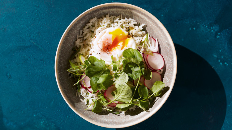 Cilantro Rice Bowl with Poached Eggs and Greens