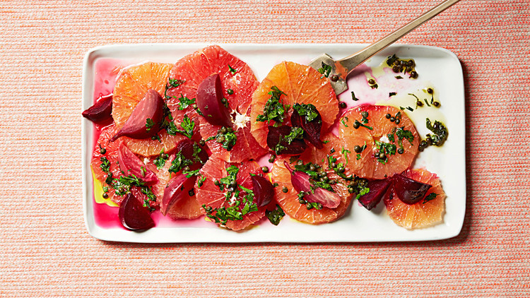 Grapefruit and Vinegar-Roasted Beets with Salsa Verde