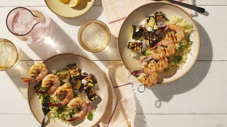 Greek Shrimp Skewers with Chopped-Zucchini Salad