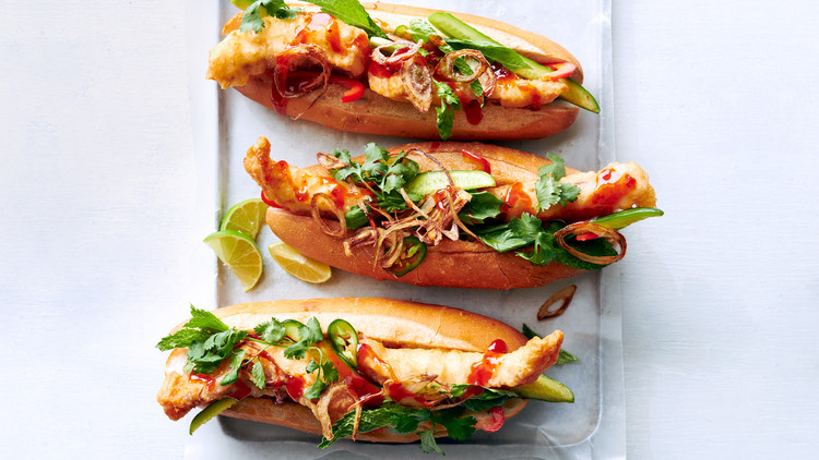Fried-Fish Subs with Chili Sauce and Herbs
