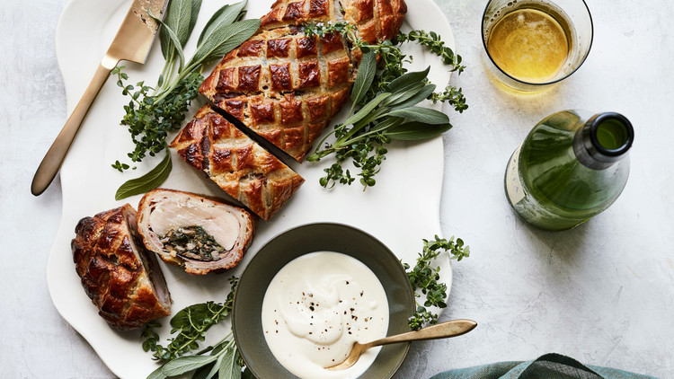 Pork Wellington with Prosciutto and Spinach-Mushroom Stuffing