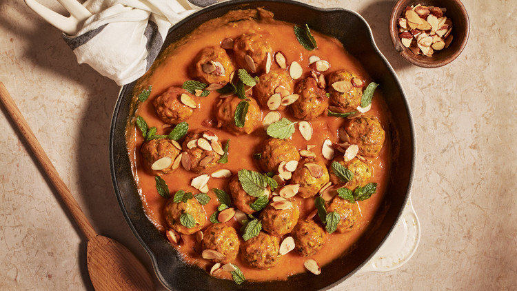 Turkey Meatballs in Apricot Sauce with Mint and Almonds recipe