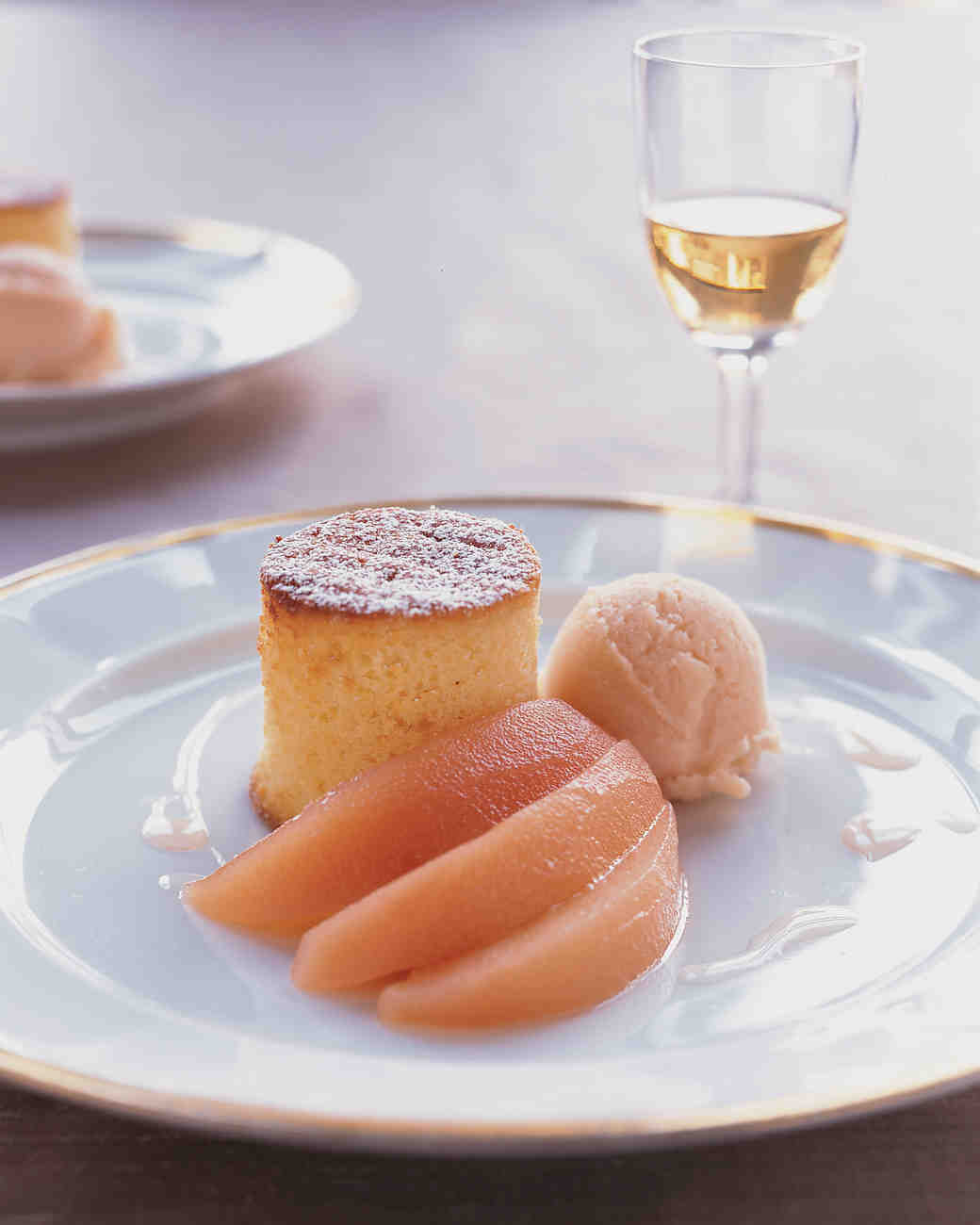 Pound Cake with Quince Sorbet and Poached Quinces