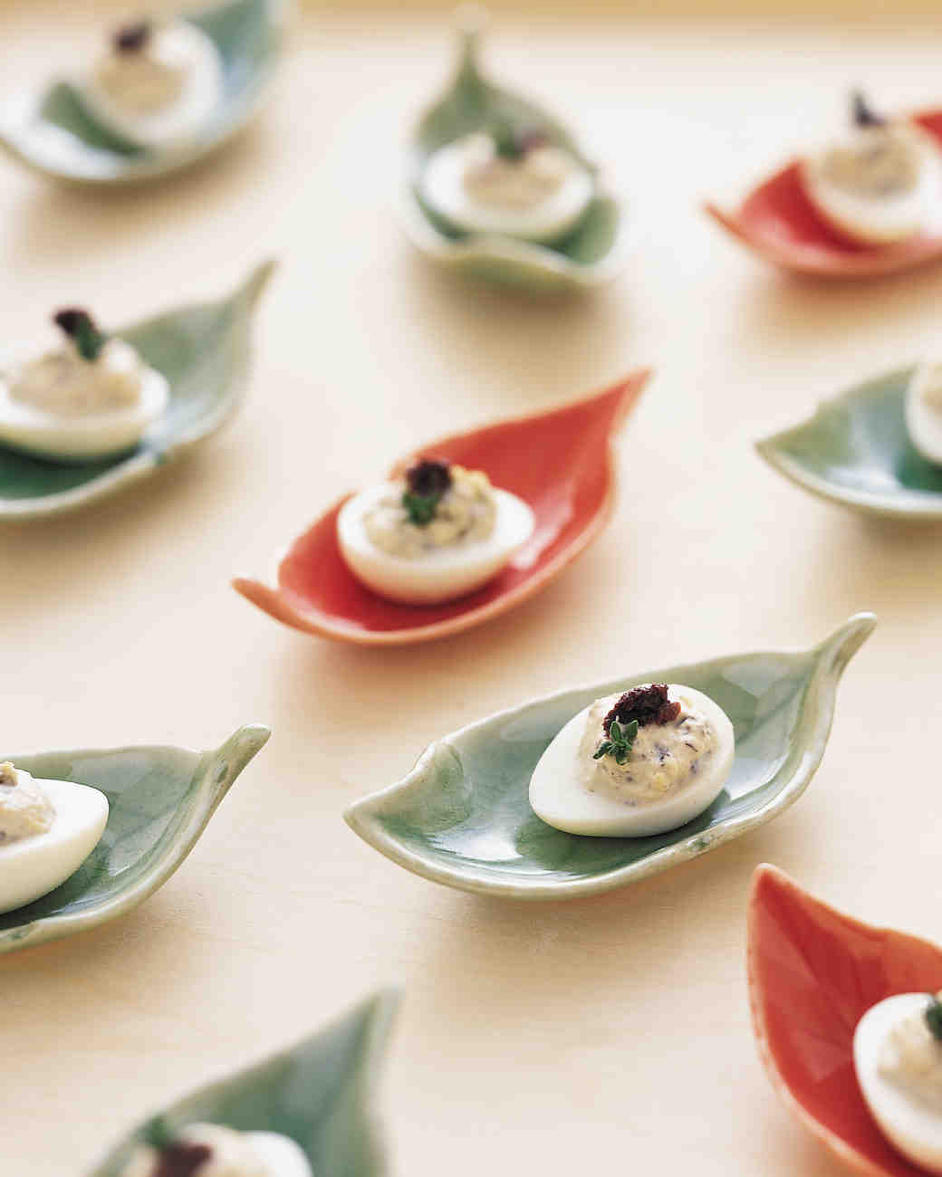 Quail Eggs with Black Olive Filling