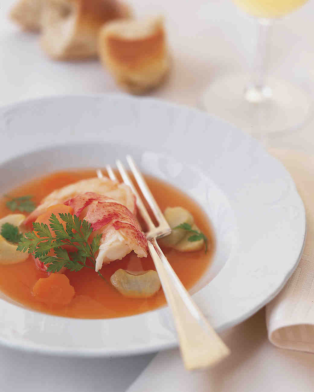 Lobster and Artichoke Hearts in Carrot Broth