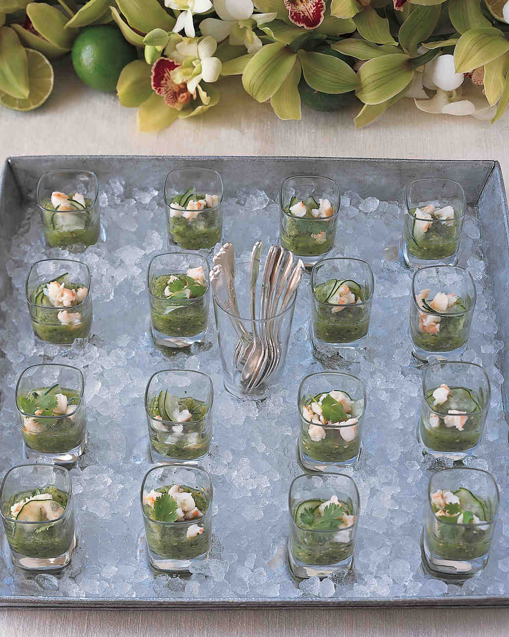 Green Gazpacho with Poached Shrimp