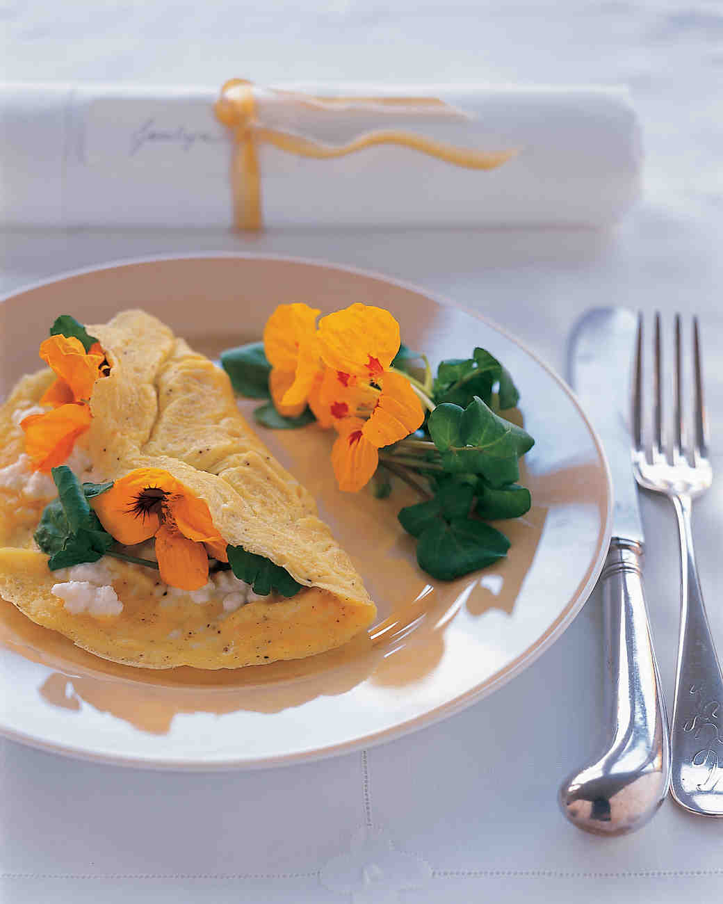 Watercress-Ricotta Omelets with Nasturtiums
