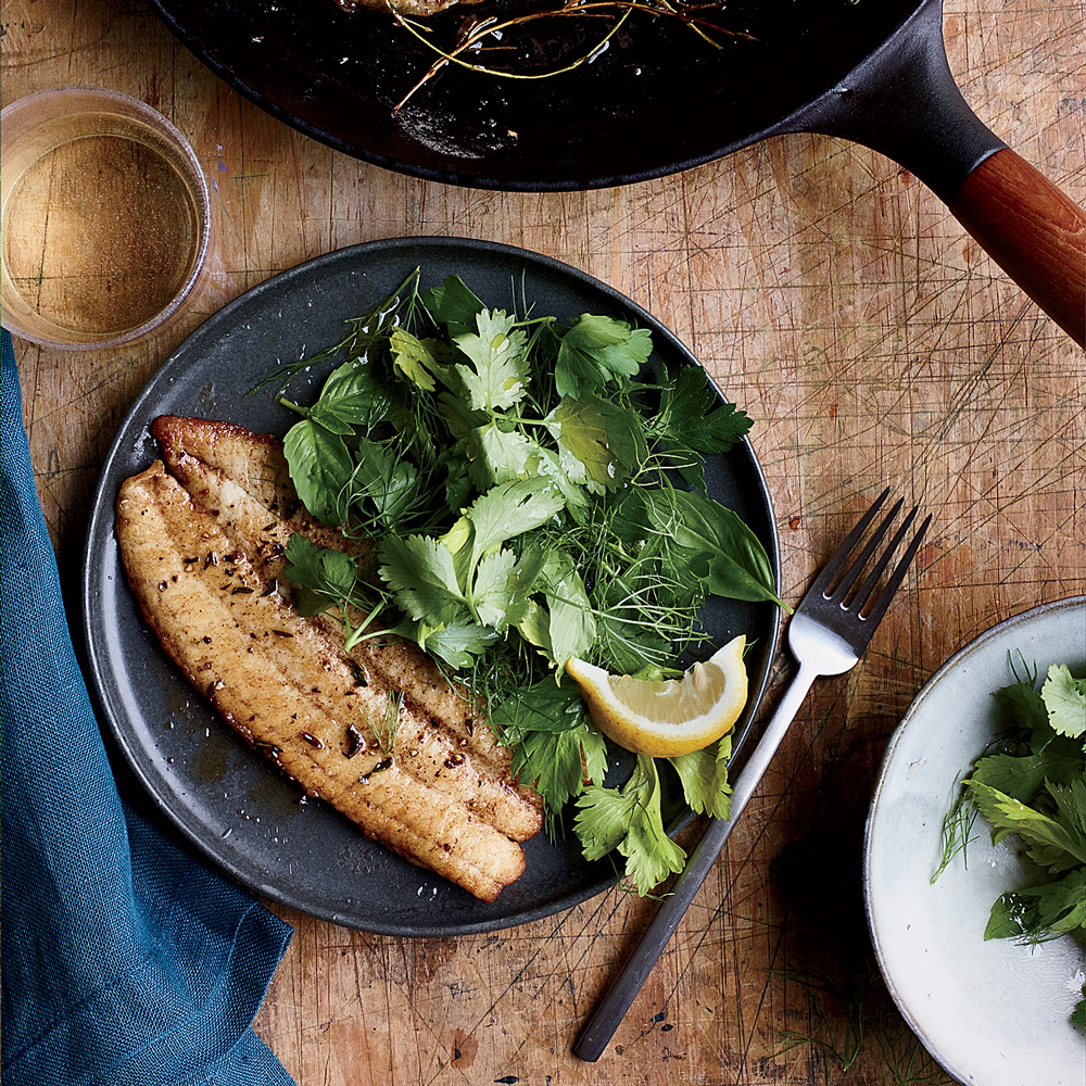 Brown Butter Sole with Herb Salad