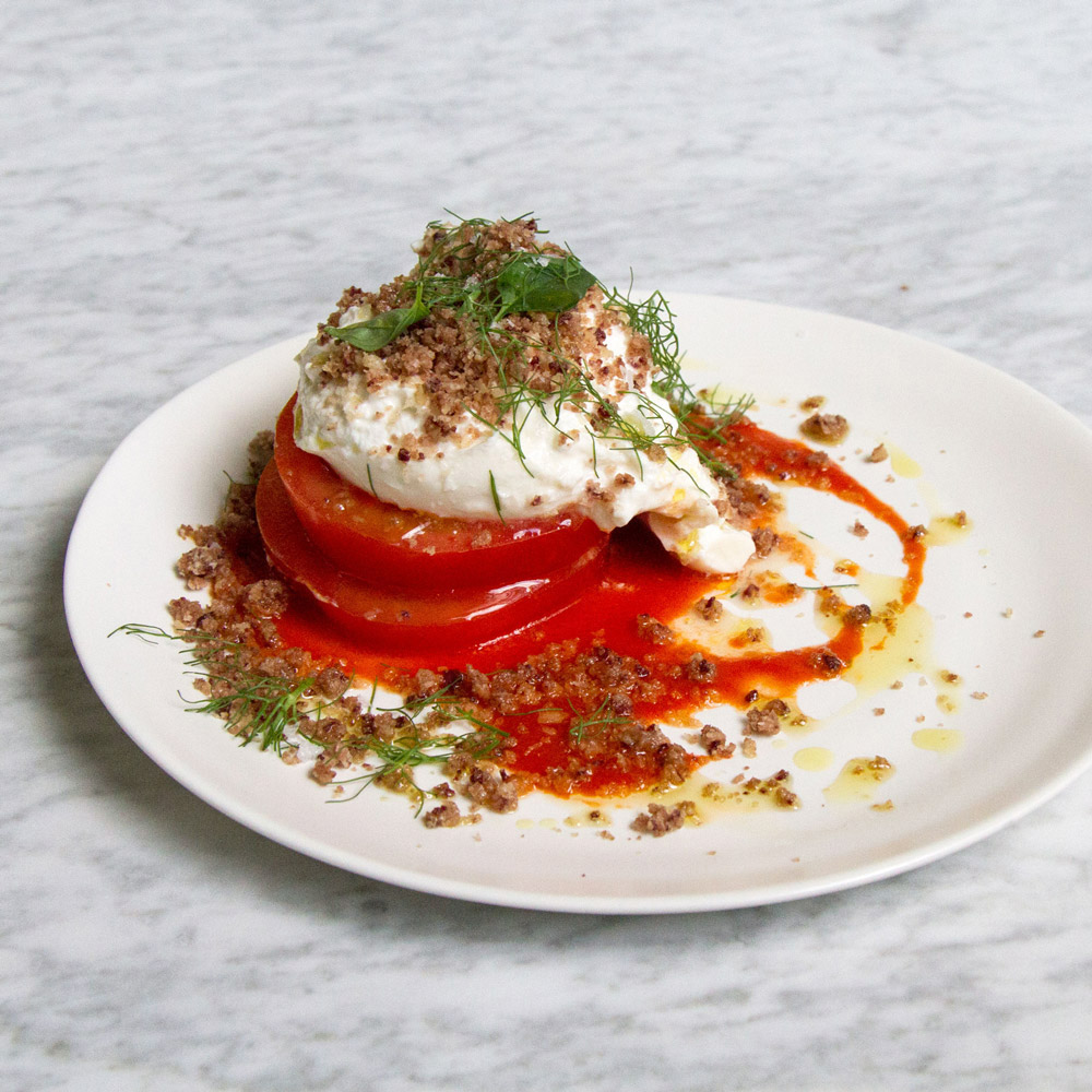 Beefsteack Tomato and Burrata Salad with Olive Streusel