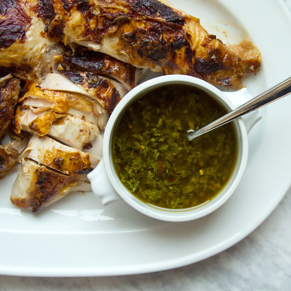 Mustard and Soy Roast Chicken with Carrot Top Chimichurri