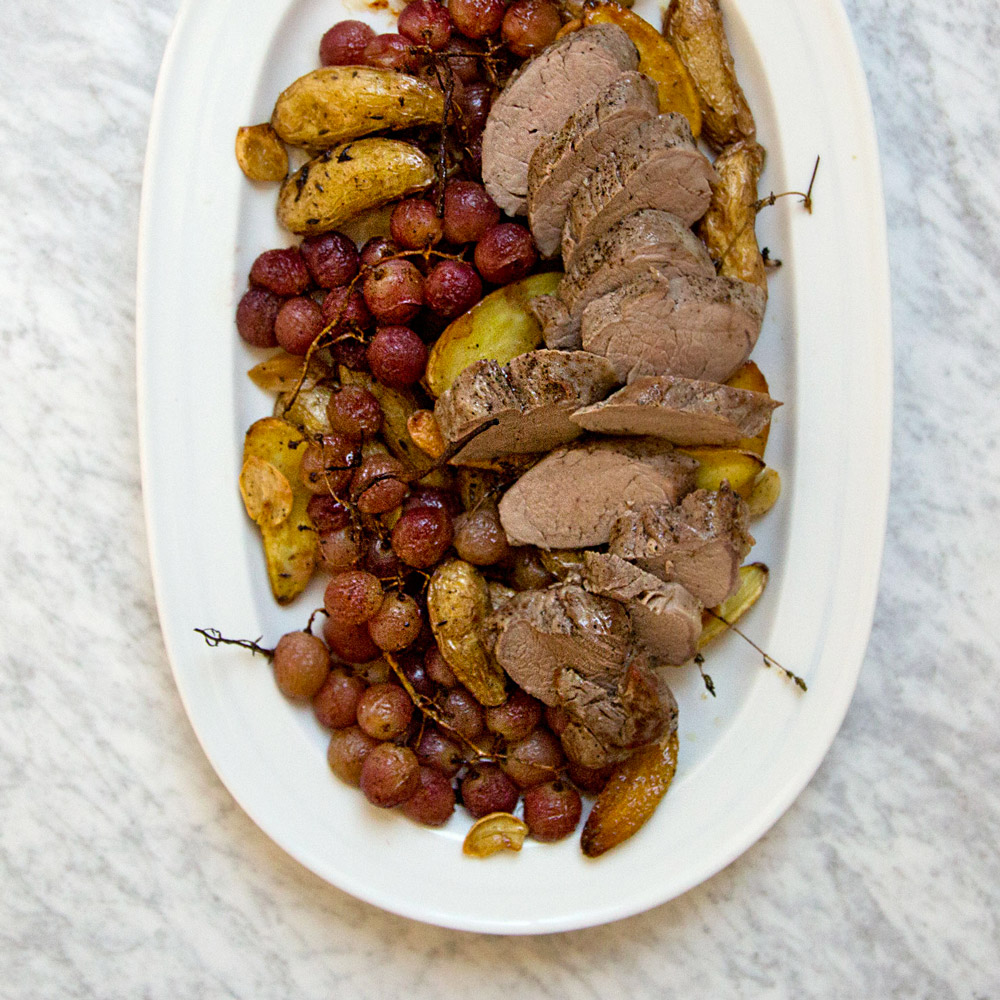 Roast Pork with Fingerlings and Grapes