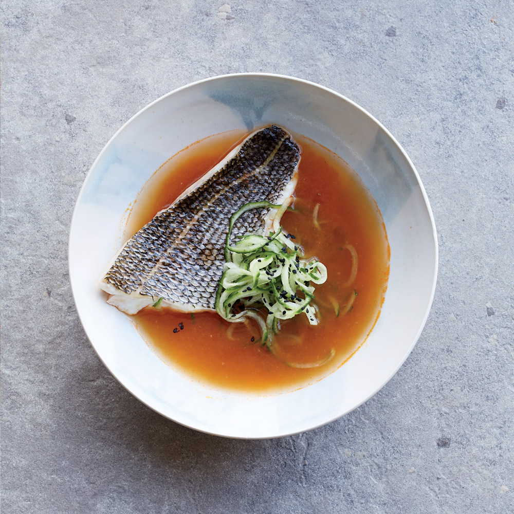 Steamed Fish with Spicy Broth and Cucumber
