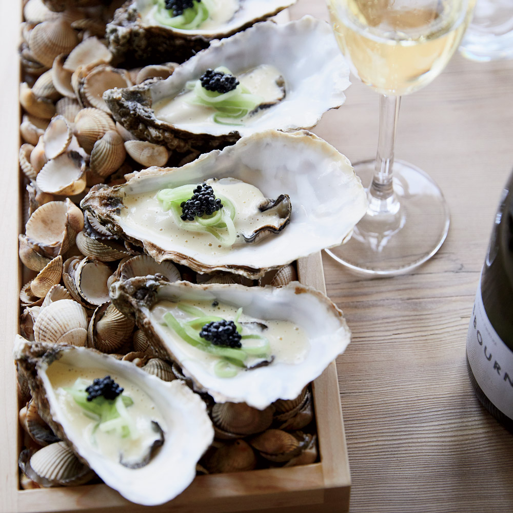 Poached Oysters with Pickled Cucumber and Caviar