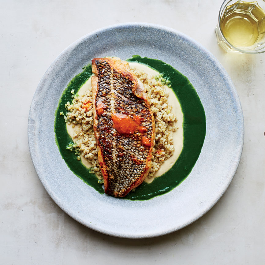 Bass with Parsley Sauce and Freekeh