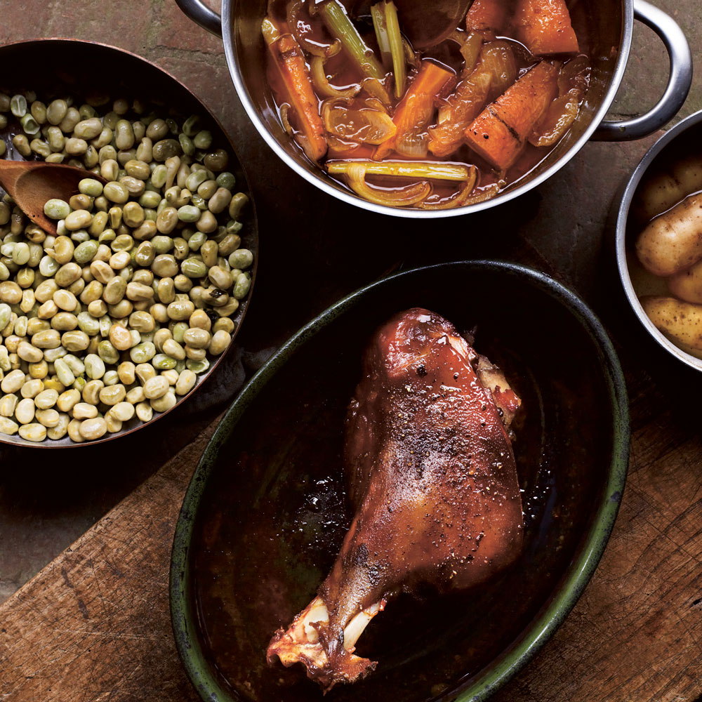 Roast Leg of Lamb with Broad Beans