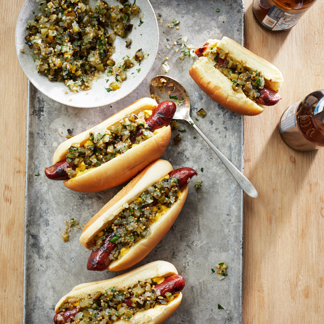 Hot Dogs with Grilled Pickle Relish