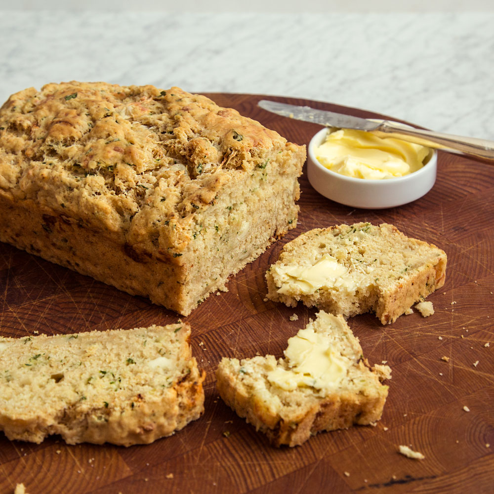 Beer Bread with Jalapeno, Cilantro, and Queso Fresco