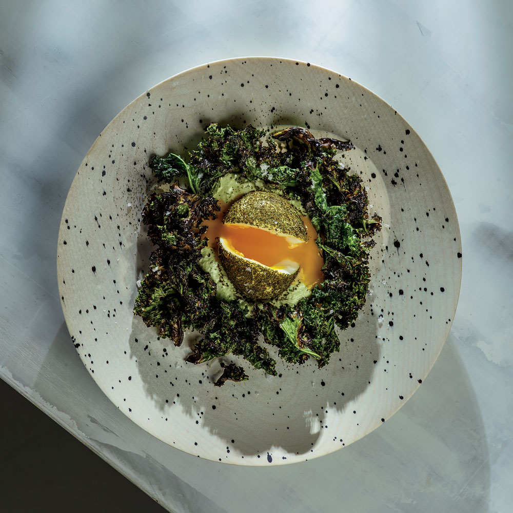 Green Eggs with Whipped Goat Cheese and Grilled Kale