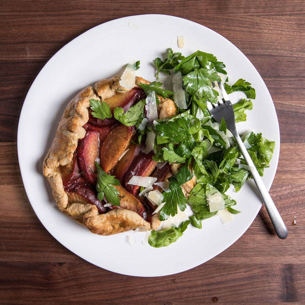 Savory Plum Tart with Arugula Salad