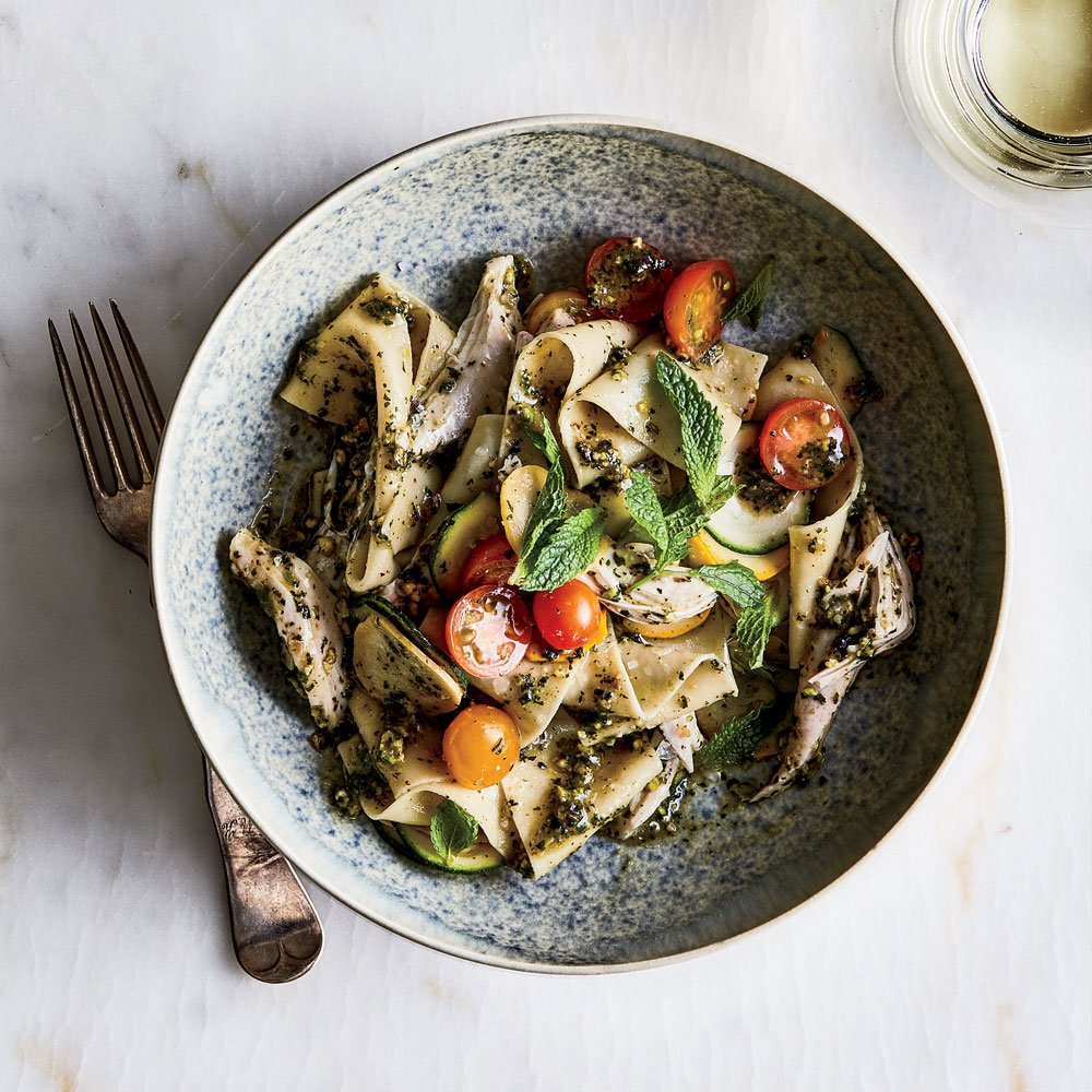 Pappardelle with Chicken and Pistachio-Mint Pesto