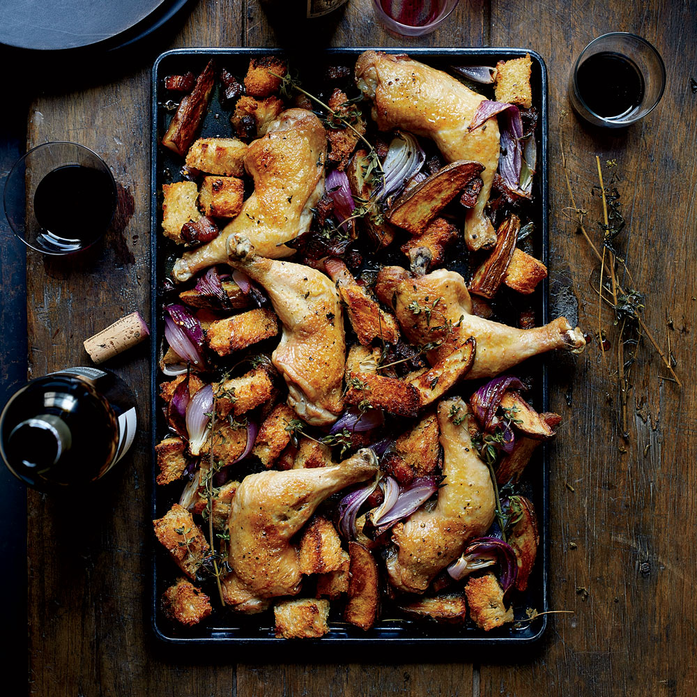 Sheet-Pan Chicken with Sourdough and Bacon