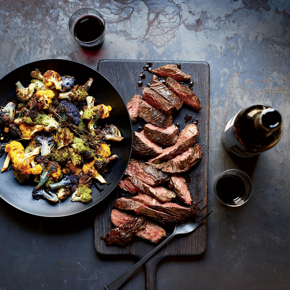 Steak and Brassicas with Red Wine Sauce