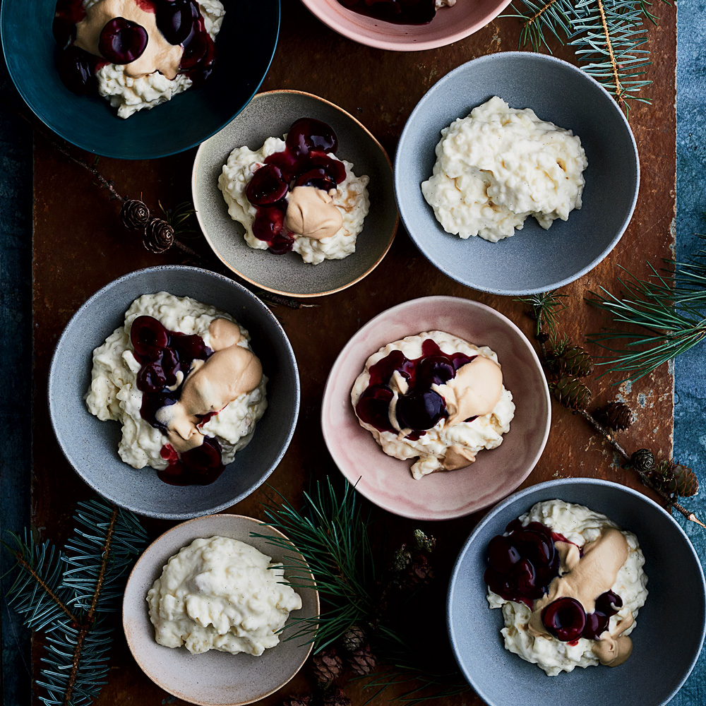 Almond Rice Pudding with Sweet Cherry Sauce and Caramel Cream